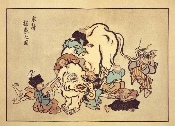Rysunek 259: 'Ślepi mnisi badają słonia' autorstwa Hanabusa Itch (1652-1724) (© Wikimedia Commons)