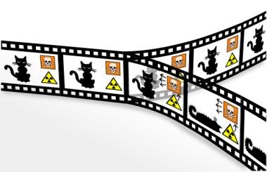 Rysunek 263: Paradoks 'kota Schrödingera' wg interpretacji 'wielu światów' (©Wikimedia Commons)